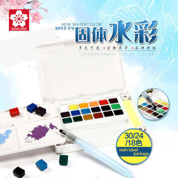 Watercolor Kit 12/18/24/30 Watercolor Paints Set Packaging Children Gift Solid Watercolor Set Sakura Water Brush Kit for Artist