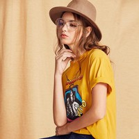 Yellow Cartoon Print T-shirt