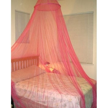 New Pink Elegant Round Lace Mosquito Polyester Bed Canopies Netting