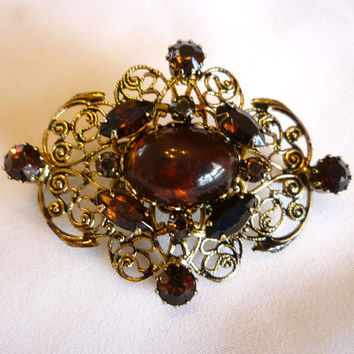 Filigree Amber Brooch, Ornate Amber Pin Brooch