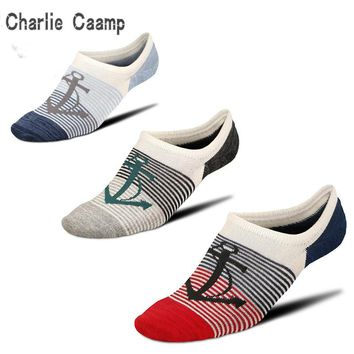 Charlie Campp 2018 New Spring And Summer Hot Mesh Hole Breathable Pirate Ship Pattern Stripes Decorative  Men's Socks