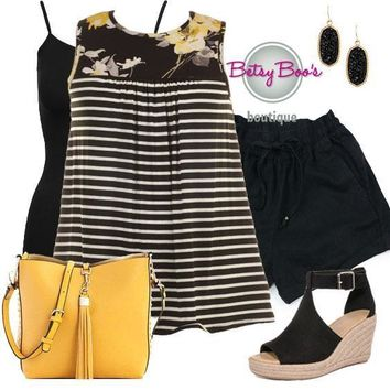 (pre-order) Set 470: Yellow Floral Striped Contrast Top (incl. top, tank & earrings)
