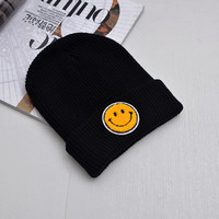 Smiley Face Beanie Cotton Acrylic Winter Embroidered Smiling Face Warm Knitted Black Cuffed Skully Hat