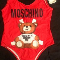 Red Moschino Summer Beach Wear Classic One Piece Bikini Swimsuit Bathing Suits