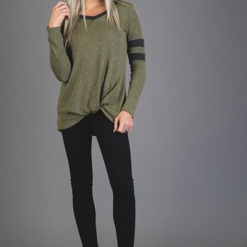 Olive and Charcoal Jersey Top with Twist Hem