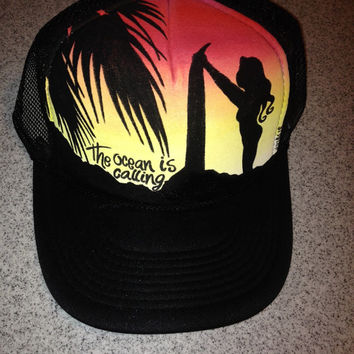 Sunset silhouette surfer girl truckerhat