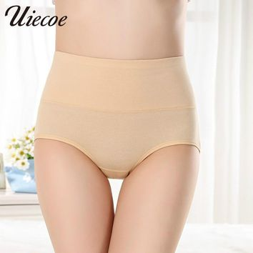 UIECOE Cotton Panties Seamless Women High Waist Slimming Briefs Body Shaperwear Underwear Sexy Ladies Underwear