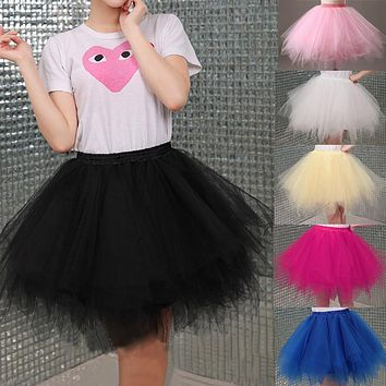 Tulle Skirts Womens High Quality Elastic Stretchy Tulle Teen Layers Summer Womens Adult Tutu Skirt  Pleated Mini Skirts