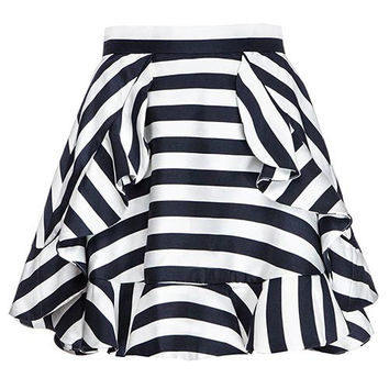 Black And White Striped Layer Skirt