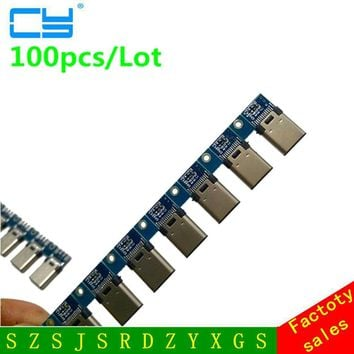 100pcs DIY OTG USB-3.1 Welding Male jack Plug USB 3.1 Type C Connector with PCB Board Plugs Data Line Terminals for Android