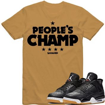 PEOPLE'S CHAMP Sneaker Tees Shirt - Jordan 4 Black Laser Gum