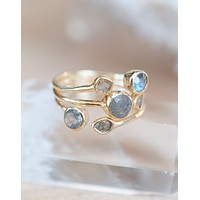Rainbow Labradorite Gold Ring (BJR119)