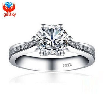 7 2015 Hot Sale Wedding Rings for Women Luxury 18K White Gold Plated Jewelry 1 Carat Cubic Zirconia Diamond Engagement Ring ZR22