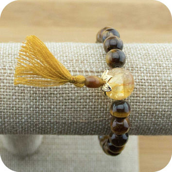 Tigers Eye Mala Bracelet with Citrine