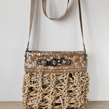 Beige leather boho chic purse, knitted leather crossbody, snake purse, trendy bag