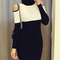 Turtleneck Long Sleeve Cut Out Color Block Knitted Dress