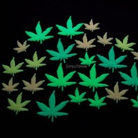 Vibe Glow in the Dark Multicolor Marijuana Weed Pot Leafs, 24 Piece