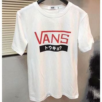 VANS 2018 men's and women's fashion Japanese limited T-shirt short sleeve F-CN-CFPFGYS white