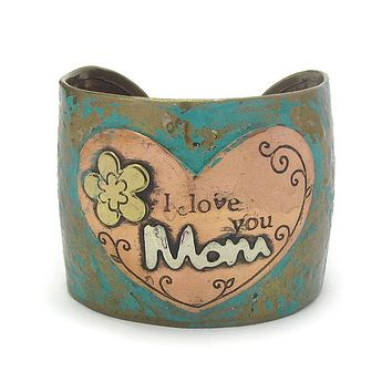 Message I Love You Mom Patina Metal Bracelet