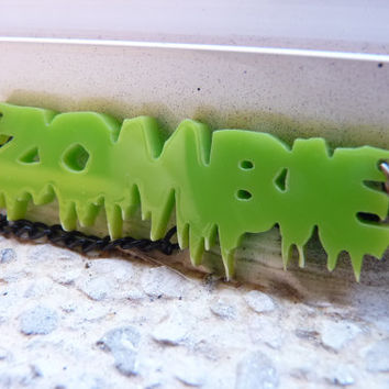 Zombie Acrylic Green Necklace Acrylic Goth Kawaii - Black Metallic Chain Long