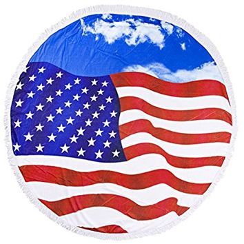 Round Cotton Beach Towel American Flag USA Wrap Poncho Tassel Trim 349577