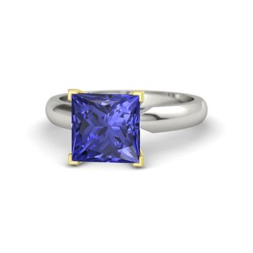 Princess Tanzanite Platinum Ring