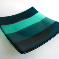 Square Fused Glass Plate in Ombre Stripes of Aqua, Sea Blue and Dark Aquamarine