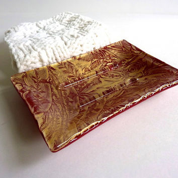 Soap Dish in Deep Red and Gold Fused Glass