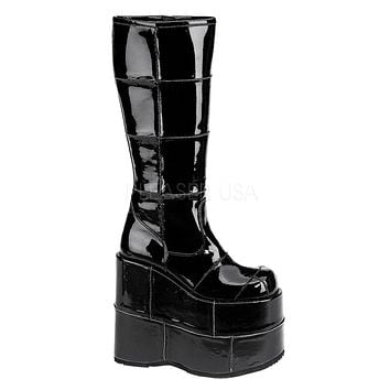 Wet Black Space Platform Boots
