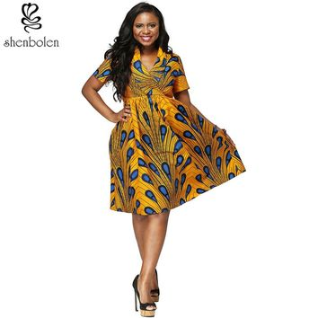 African women clothes v-neck Ankara wax printing fabric batik dresses