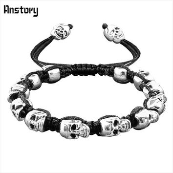 Vintage Smile Skull Bead Bracelet Boho Skeleton Jewelry Antique Silver Plated Handmade Rope Woven Craft