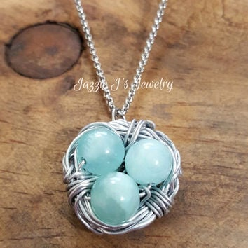 Handmade Wire Wrapped Bird Nest Necklace, Silver and Blue Bird Nest, Mother's Day Necklace, Grandmother Necklace, Family Necklace