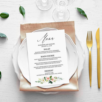Menu template download, Dinner party menu template, Editable printable menu cards template, Wedding menu cards, Floral menu cards template