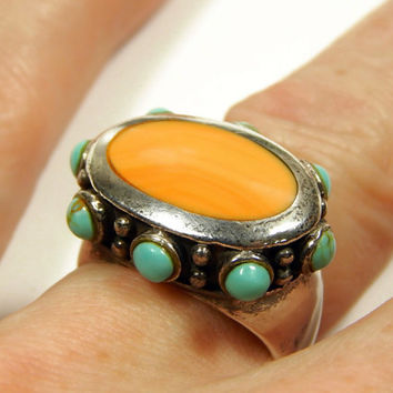 Vintage Mexican Sterling Silver And Turquoise Ring - Size 7-1/2 - Orange Coral And Turquoise - Vintage Jewelry - Sterling Silver Jewelry