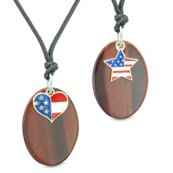 Proud American Flag Super Cute Heart and Star Love Couples BFF Set Red Tiger Eye Amulet Cord Necklaces