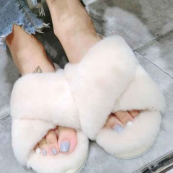 UGG Soft Nap Fur Women Men Slipper Shoes