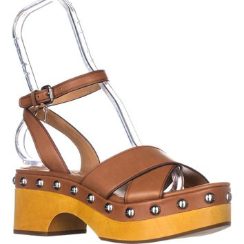 Coach Astor Studded Matte Calf Ankle Strap Sandals, Saddle, 7 US / 37 EU