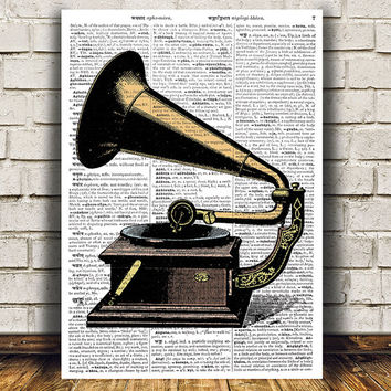Antique print Vintage art Gramophone poster Dictionary print RTA1091