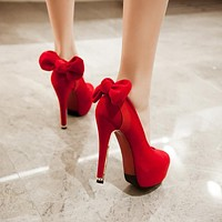 Sexy Bride Red Wedding Bowknot High Heels Shoes