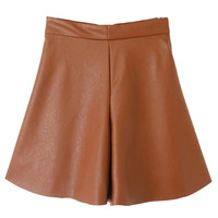 Brown Zipper PU Skort - Choies.com