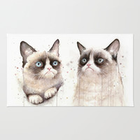 Grumpy Watercolor Cats Rug by Olechka