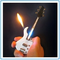 1x Mini White Guitar LED Light Refillable Cigar Cigarette Lighter 7inch