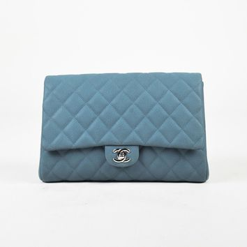 "Chanel $3100 Blue Quilted Leather Silver Tone Chain Link ""Flap"" Bag"