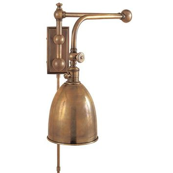 Visual Comfort and Company CHD2150AB-AB Antique Brass Pimlico Double Swing Arm Plug In Lamp