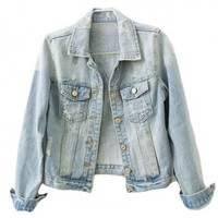 Retro Distresses Denim Coat in Light Blue