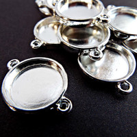 10 Silver Bezel Connectors, Silver Tone Links, Silver Cabochon Setting, Round Bezel Link, Silver Jewelry Link, Jewelry Supplies UK Seller