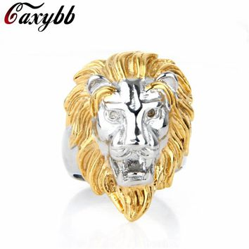 316L Stainless Steel Punk Ring Titanium Lion Head Ring Men US Size Rings For Men/Women Animal Jewelry