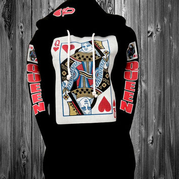 "black ""queen of heart "" hoodie"