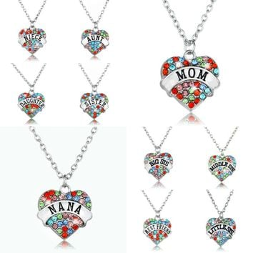 Crystal Heart Pendant Necklace NANA Grandma Sister Aunt Niece Friend Family Gift BFF Women Jewelry Charm Mother's Day Necklaces