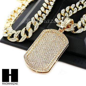 "Hip Hop 14k Gold Plated Dog Tag Pave Pendant 30"" Iced Out Cuban Link Chain N08"